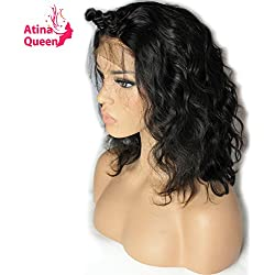 Atina Queen Hair Products 180 density Brazilian Virgin Human Hair Body Wave Lace Front Wigs with Baby Hair Shoulder Length Wigs Glueless Short Bob Wigs for Black Women 14inch ON SALE