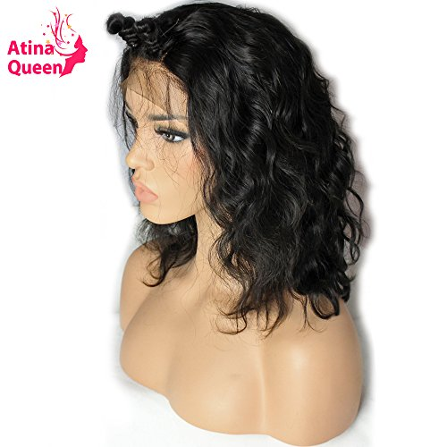 Atina Queen Hair 13x6 Short Body Wave Lace Wigs On Sale Glueless Lace Front Human Hair Wigs with Baby Hair Natural Hairline Pre Plucked Bob Wigs For Black Women Human Hair 12inch]()