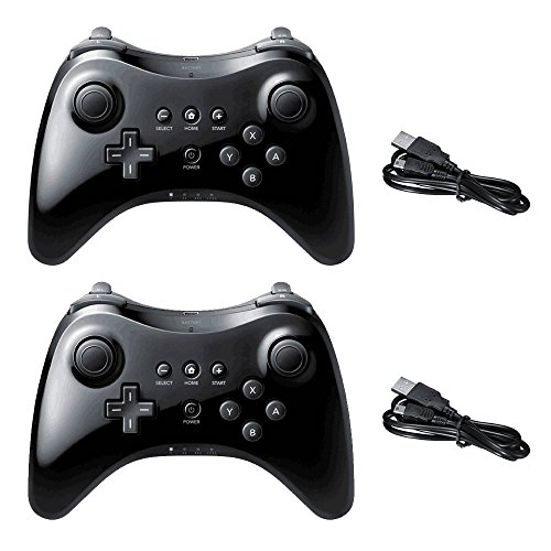 Wireless Controller for Wii U Pro Console Dual Analog by Poulep (Black and Black)