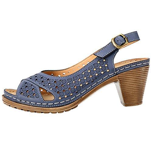 Foncé Toes Alexis Sandales Bloc Peep Leroy Bleu Talon Femme Boucles wR1zq