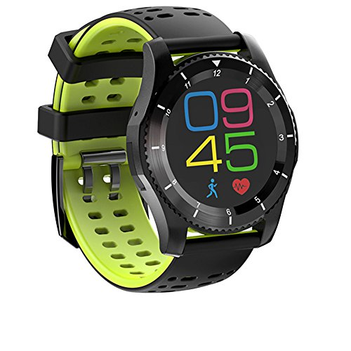 Price comparison product image Boofab GPS Smart Watch, Bluetooth IP68 Waterproof Sports Fitness Activity Watch with Global Positioning System, Heart Rate, Blood Pressure, Compass, Pedometer for IOS Iphone, Android (Green)