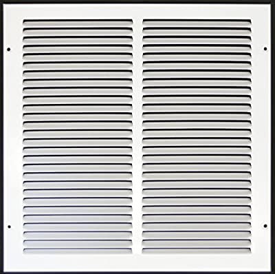 "14""w X 14""h Steel Return Air Grilles - Sidewall and Cieling - HVAC DUCT COVER - White [Outer Dimensions: 15.75""w X 14.75""h]"