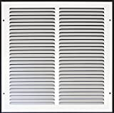 14''w X 14''h Steel Return Air Grilles - Sidewall and Cieling - HVAC DUCT COVER - White [Outer Dimensions: 15.75''w X 14.75''h]