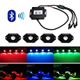 iJDMTOY (4) Universal Fit 3-CREE 9W High Power RGB Multi-Color LED Rock Light Kit For Jeep Truck SUV Off-Road Boat w/ Smartphone Bluetooth Remote Control
