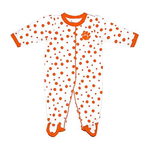 NCAA Clemson Tigers Infant Polka Dot Footed Creeper Dress, 6 months, Orange