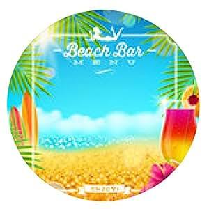 alfombrilla de ratón Playa tropical diseño del menú vector de la barra - ronda - 20cm