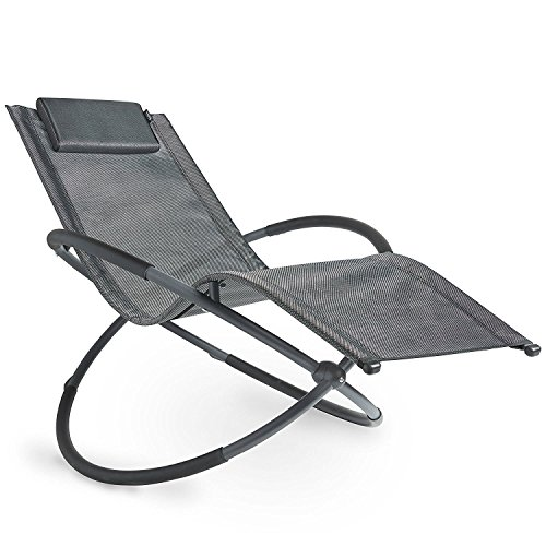 VonHaus Moon Rocking Sun Lounger Outdoor Folding Orb Rocking Chair with Pillow for Garden, Patio, Deck