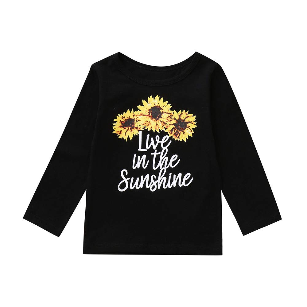 Clode for 2-6 Years Old Cute Toddler Baby Girls Kids Long Sleeves Letter Sunflowers Print Pullover Sweatshirt T-Shirt Tops Autumn Winter Clothes Clode-TS-00387