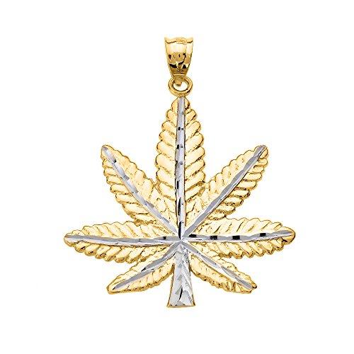 Collier Femme Pendentif 14 Ct Or Jaune Marijuana Feuille Cannabis Charme (Livré avec une 45cm Chaîne)