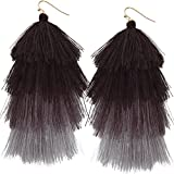 Humble Chic Women's Hula Fringe Tassels - Tiered Thread Statement Layered Party Dangle Earrings
