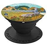Vincent Van Gogh Art Farmhouse Provence Blue Sky Stone Wall - PopSockets Grip and Stand for Phones and Tablets