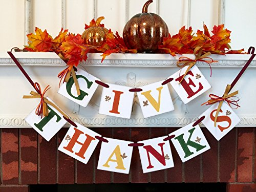 Give Thanks Banner / Fall hostess Gift / Thanksgiving Decorations / GIVE THANKS Mantle Banner / Fall Garland / Thanksgiving Decorations