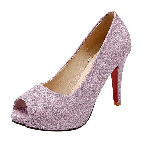 RAZAMAZA Femmes Peep Toe Escarpins pink MLjEU