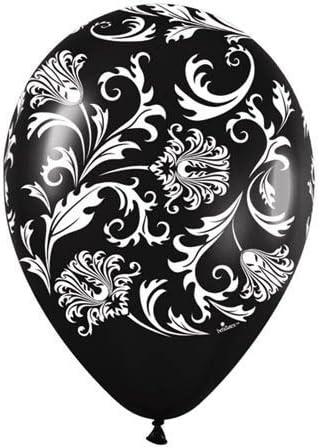 "Impresión damasco blanco y negro 11 /""Qualatex Latex Globos X 25"