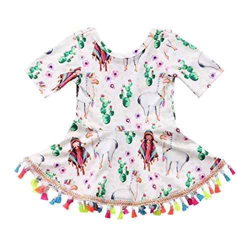 HESHENG Toddler Baby Kids Summer Clothes Short Sleeve Pattern Dress Tassel Sundress Kids Outfit (Multi, 110/2-3Y)
