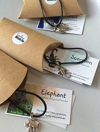 Smiling Wisdom - Scorpion, Elephant and Wolf Gift Set - Totem Animals - Kids Party Favor Gifts - 3 Spirit Animal Necklace Value Pack - Gifts for Boys, Girls - (Animal Totems Elephant)