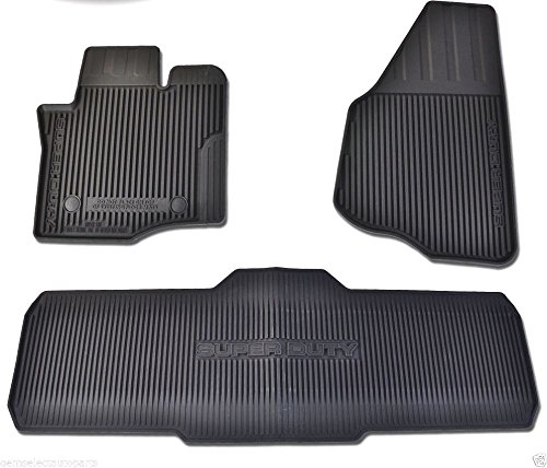 Oem Factory Stock Genuine 2013 2014 2015 Ford Super Duty F-250 F-350 F-450 F-550 Crew Cab Black Ebony Rubber All Weather Floor Mats Set 3-pc Front & Rear DC3Z-2613300-A (part #)