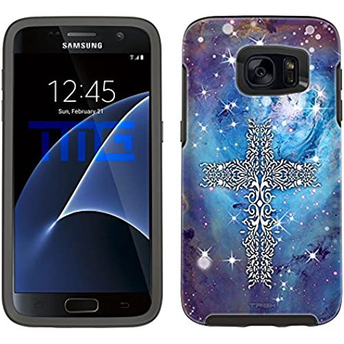Skin Decal for Otterbox Symmetry Samsung Galaxy S7 Edge Case - Tribal Cross on Nebula Blue Sales