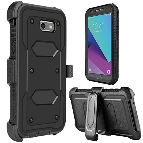 Galaxy J7 2017 Case, Galaxy Halo Case, J7 Sky Pro Case, lovpec [Holster Series] Shockproof Protective Case with Kickstand and Belt Swivel Clip for Samsung Galaxy J7 V 2017 (Black) ()