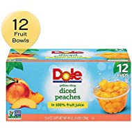 DOLE FRUIT BOWLS, Yellow Cling Diced Peaches in 100% Fruit Juice, 4 Ounce, 12 Count (Pack of 1)