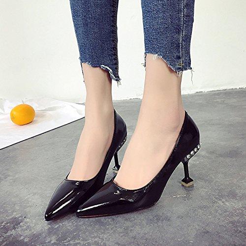 superficiale nere 36 scarpe tacchi Scarpe donna bocca Qiqi nude nero alti femminile con Xue scarpe Scarpette principessa bene IPavx7