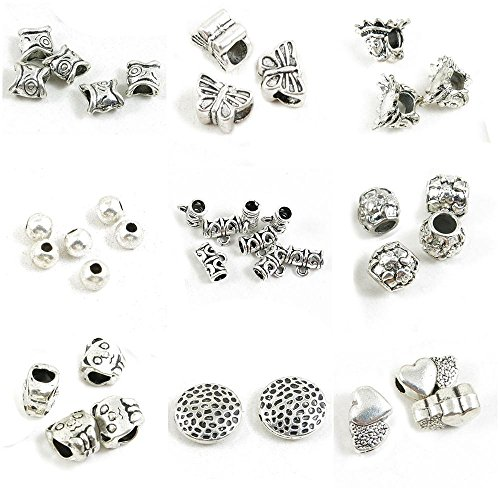 4x13mm Tube Round Bead (38 Pieces Jewelry Making Charms Heart Loose Beads Hollow Bear Panda Flower Tube Bead Bail Cord Ends)