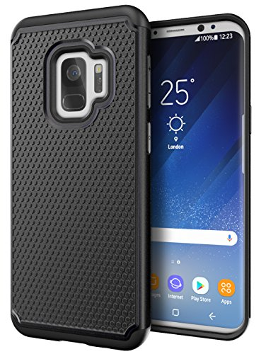 Cimo Armor Galaxy S9 Case with Shockproof Dual Layer Protection and Rugged Hybrid Shell for Samsung Galaxy S9 - Black