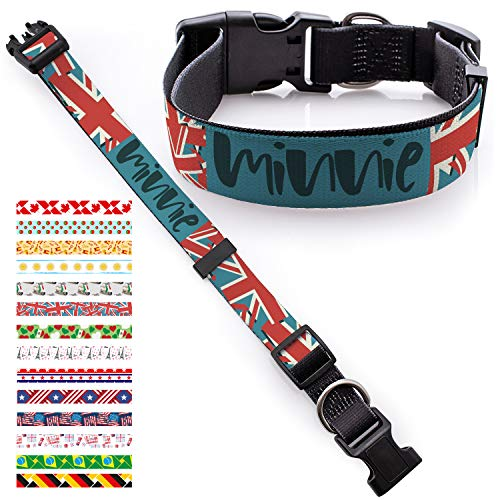 Personalized Dog Collar - Custom Dog collars /w Pet Name & Phone Number for Large Medium Small Dog & Cat - Girl Boy Collars Adjustable Sizes with Safe Metal Buckle - Country Flags USA, Mexico