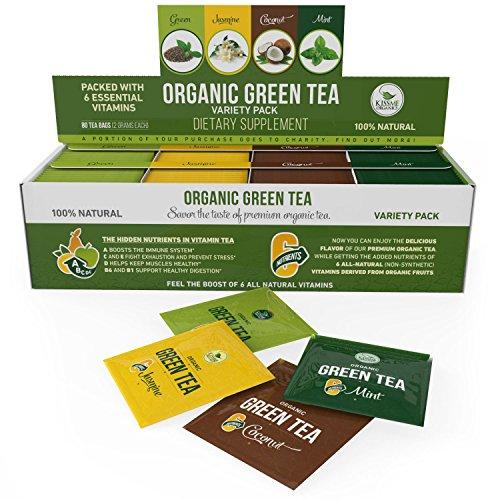 Organic Green Tea Bags Variety Pack - 80 Tea Bags - 20 of Each Flavor (2 grams each) - Original, Jasmine, Chocolate and Mint - By Kiss Me Organics