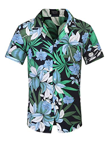 COOFANDY Mens Hawaiian Shirts Tropical Aloha Shirt Floral Printed Short Sleeve Button Down Shirts Blue (1980s Shirt Hawaiian)