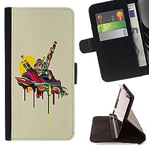 For Samsung Galaxy S5 V SM-G900 Case , Fusión psicodélica- la tarjeta de Crédito Slots PU Funda de cuero Monedero caso cubierta de piel