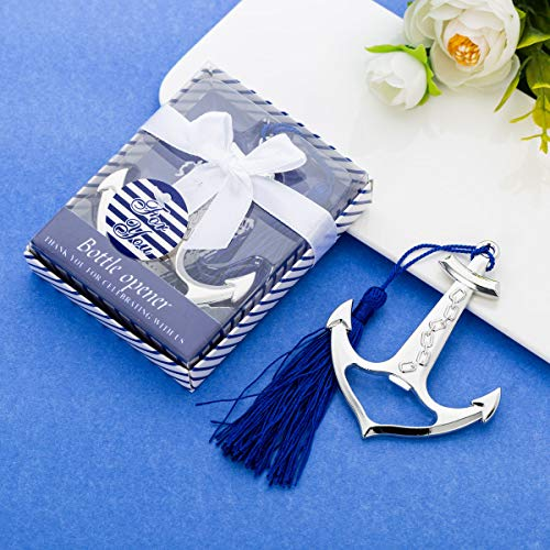 19Pcs Anchor Beer Bottle Opener with Blue Tassel for Nautical Theme Beach Wedding Baby Bridal Shower Birthday Engagement Party Favors, wedding gift, Thank you gift Boxed Souvenir Return Gift
