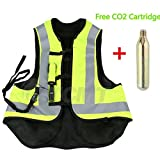 TCMT Airbag Motorcycle Airnest Air Bag Vest Hi Visibility w/ CO2 Cartridge (XXL, Black + Fluorescent yellow)