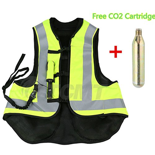 TCMT Airbag Motorcycle Airnest Air Bag Vest Hi Visibility w/ CO2 Cartridge (L, Black + Fluorescent yellow) ()