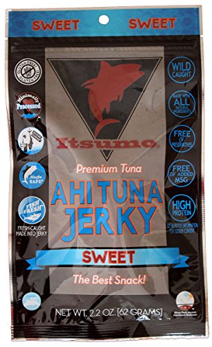 Itsumo Wild Ahi Tuna Fish Jerky Sweet Flavor - Premium Sashimi Grade Yellowfin Tuna Fish - Healthy & All Natural Ingredients - Paleo & Gluten Free Protein Snack