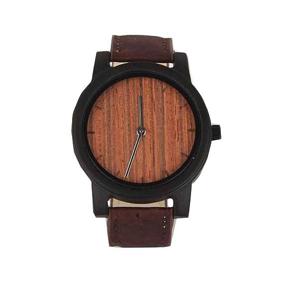 Reloj de Corcho Natural, Reloj de Madera Marrón Oscuro, Correa de Corcho Marrón |