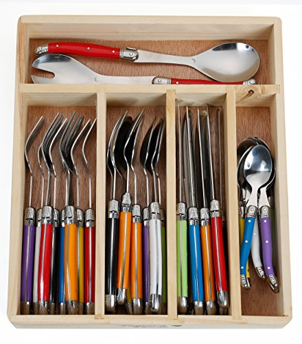 FlyingColors Laguiole Stainless Steel Flatware Set. Multicolor Handles, Wooden Storage Box, 34 Pieces - Italian Pottery