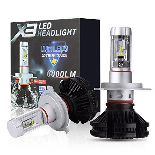 PLW X3 Auto Led Headlight lighting System, H4 5600K, IP67 Spec with Waterproof 360 Degree Adjustable Socket and Efficient Turbine Cooling - Headlamp System