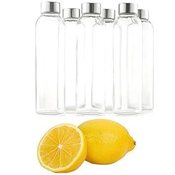 fadyshow botella de agua de vidrio con a prueba de fugas Acero inoxidable tapas 6 unidades