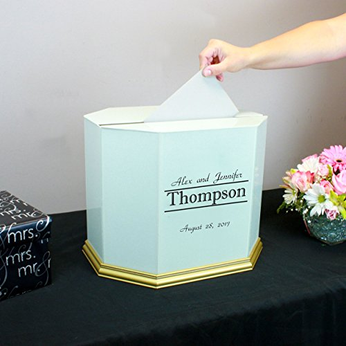 Personalized Wedding Card Box White Glass with Gold Trim by Perfect Cases