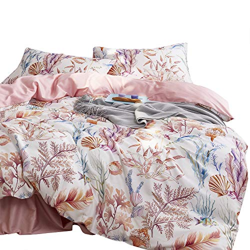 Wake In Cloud - Coral Duvet Cover Set, Sateen Cotton Bedding, Tropical Seaweed Sea Fish Pattern Printed, Reversible with Pink, Zipper Closure (3pcs, Queen Size) (Cover Coral Duvet)