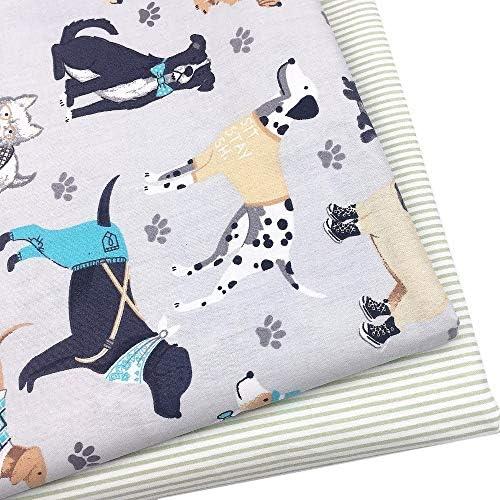 Maslin 100% algodón Fabrit gris dibujos animados Pet Perros Huella ...