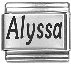 the name alyssa coloring pages | Amazon.com: Alyssa Laser Name Italian Charm Link: Jewelry