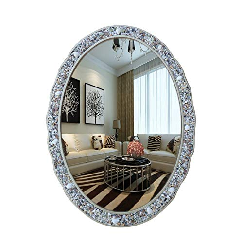 Shabby Chic Bathroom Wall Mirror, Oval Retro Frame Vanity Makeup Mirror, Silver -