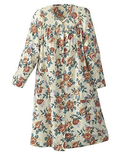 National Floral Flannel Duster, Peach Floral, Large - Misses, Womens