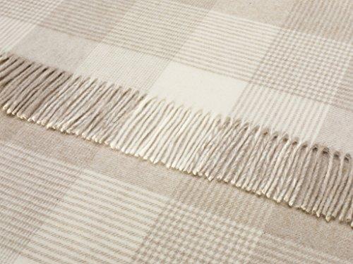 Wool Throw Blanket by Bronte Moon - Merino Lambswool - Blanket Check Beige