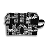 Hip Hop In Black Travel Cosmetic Bag Portable Makeup Pouch Pencil Holders