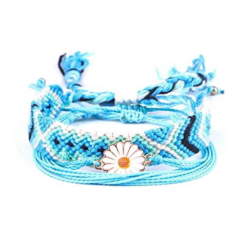 - AOASK Nepali Flat Braided Rope Bracelet Daisy Layered Bracelet Waterproof Wax Coated Braided Rope Friendship Bohemian Handmade Bracelet