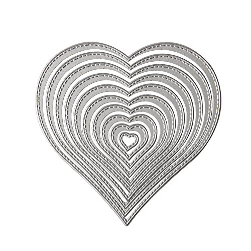 Die Cuts Cutting Dies for DIY Scrapbook Supplies - Metal Embossing Stencil and Template for Kid's DIY Crafts Supplies, Card Supplies, Wedding and Party Decorations (Heart Shape)