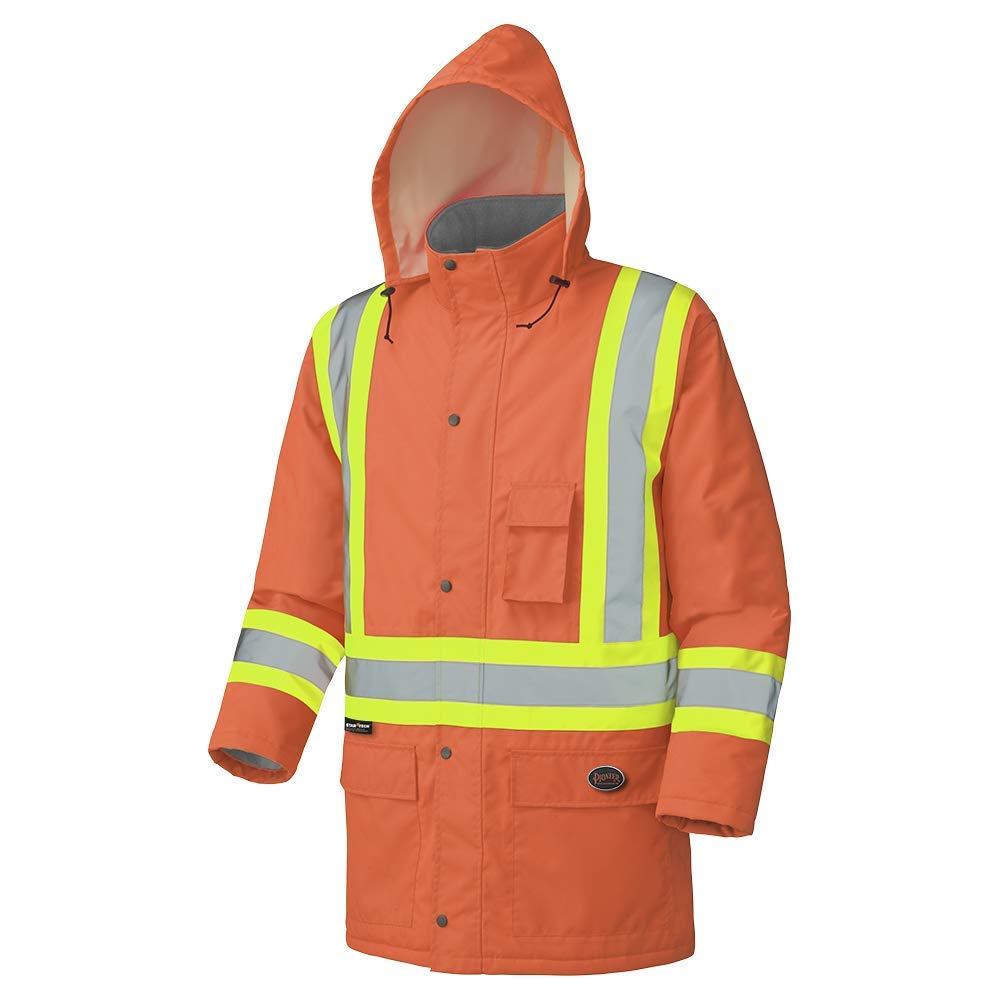Pioneer Waterproof CSA High-Visibility Winter Safety Parka, 28º C Insulation, Multi-Pockets & Lightweight, Orange, 2XL, V1150150-2XL